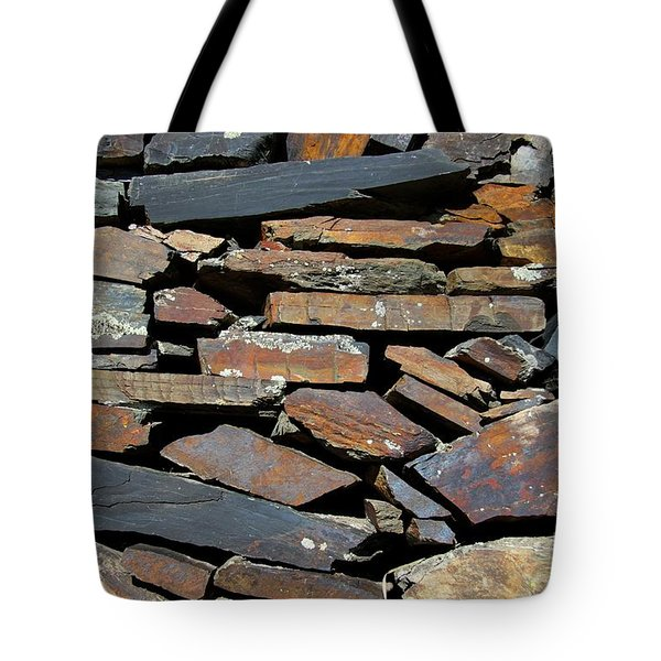 Tote Bag featuring the photograph Rock Wall Of Slate by Bill Gabbert