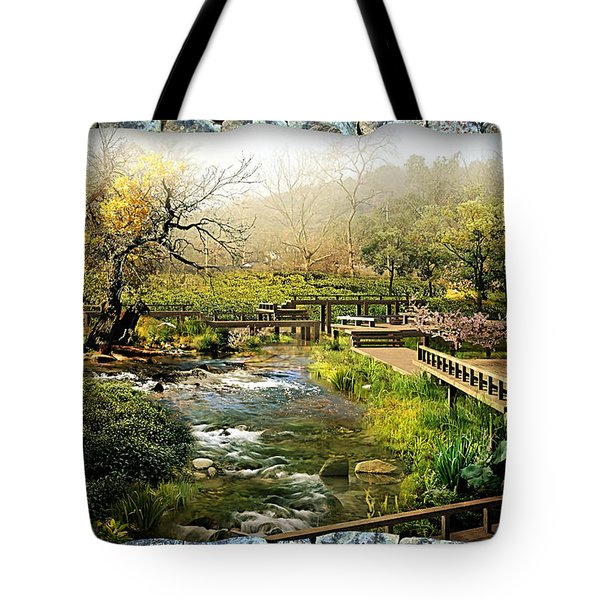 Rock Window River Garden Tote Bag by Marvin Blaine