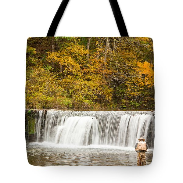 Tote Bag featuring the photograph Rockbridge Fisherman by Steven Bateson