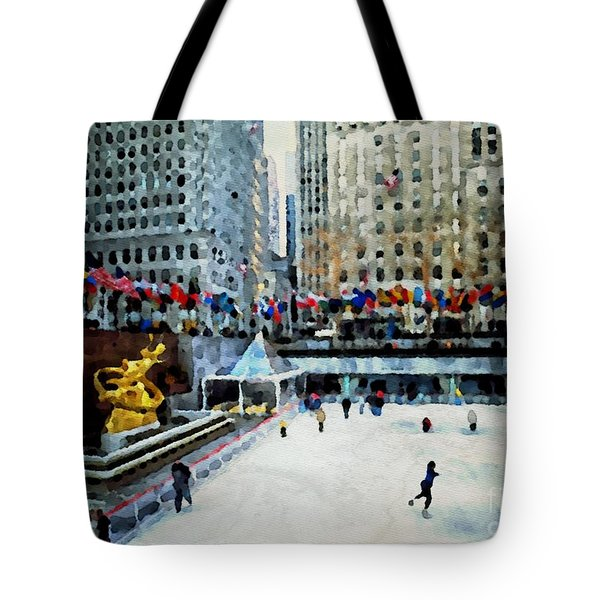 Rockefeller Center Ice Skaters Nyc Tote Bag