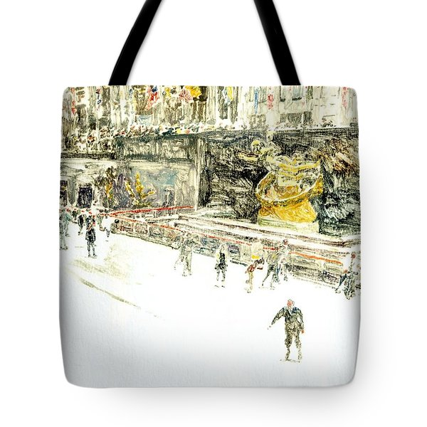 Rockefeller Center Skaters Tote Bag by Anthony Butera