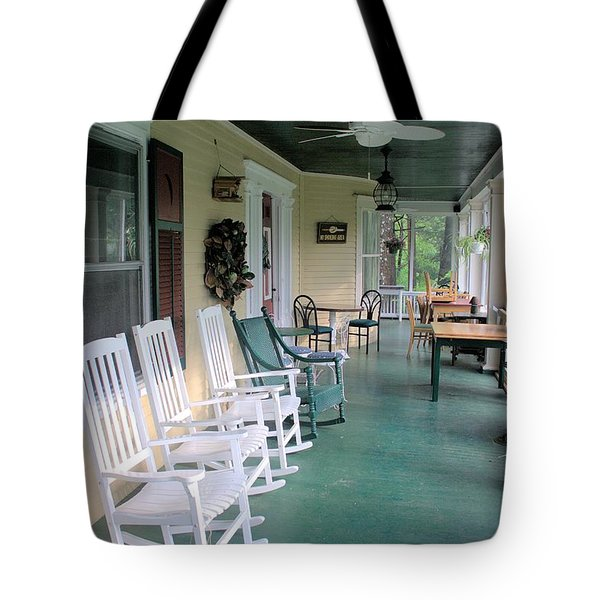 Rockers On The Porch Tote Bag by Gordon Elwell