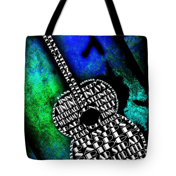 Rockin Guitar In Blue And Green Tote Bag