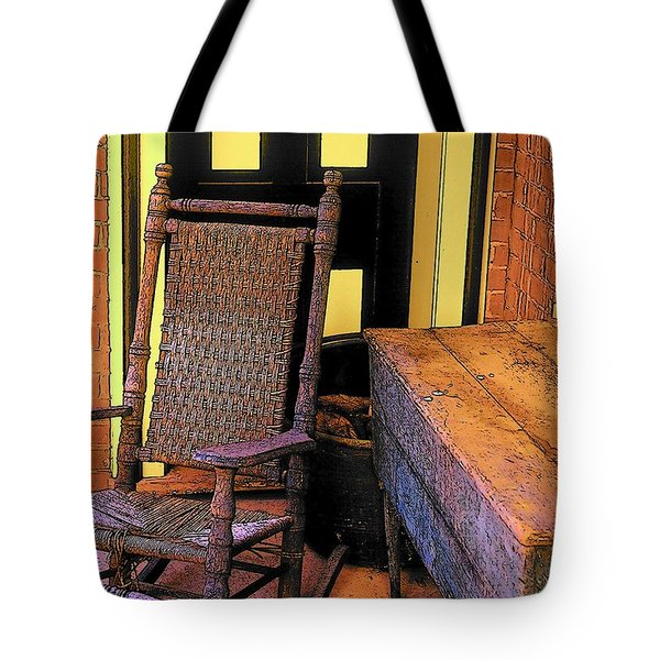 Rocking Chair And Woodbox Tote Bag
