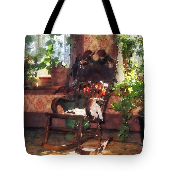 Rocking Chair In Victorian Parlor Tote Bag by Susan Savad