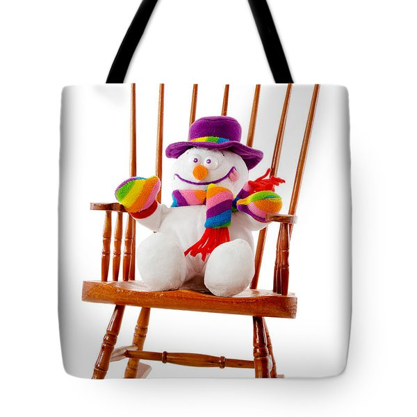 Tote Bag featuring the photograph Happy Snowman Sitting In A Rocking Chair  by Vizual Studio