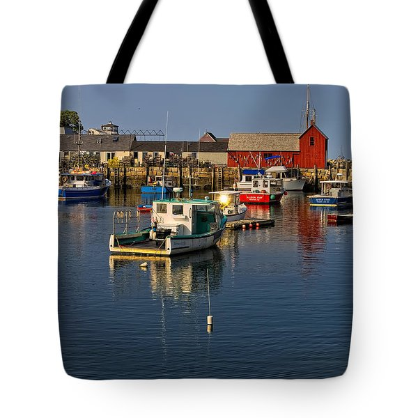 Tote Bag featuring the photograph Rockport Harbor No.1 by Mark Myhaver