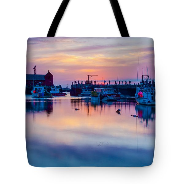 Tote Bag featuring the photograph Rockport Harbor Sunrise Over Motif #1 by Jeff Folger