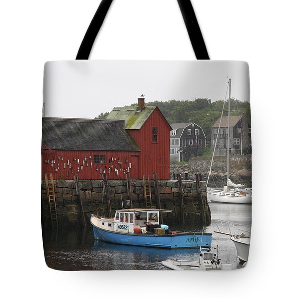 Rockport Inner Harbor With Lobster Fleet And Motif No.1 Tote Bag by Christiane Schulze Art And Photography