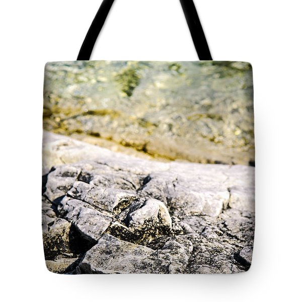 Rocks At Georgian Bay Tote Bag by Elena Elisseeva