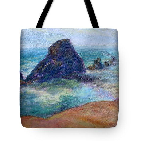 Rocks Heading North - Scenic Landscape Seascape Painting Tote Bag