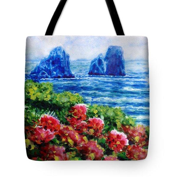 Rocks Of Capri Tote Bag by Zaira Dzhaubaeva