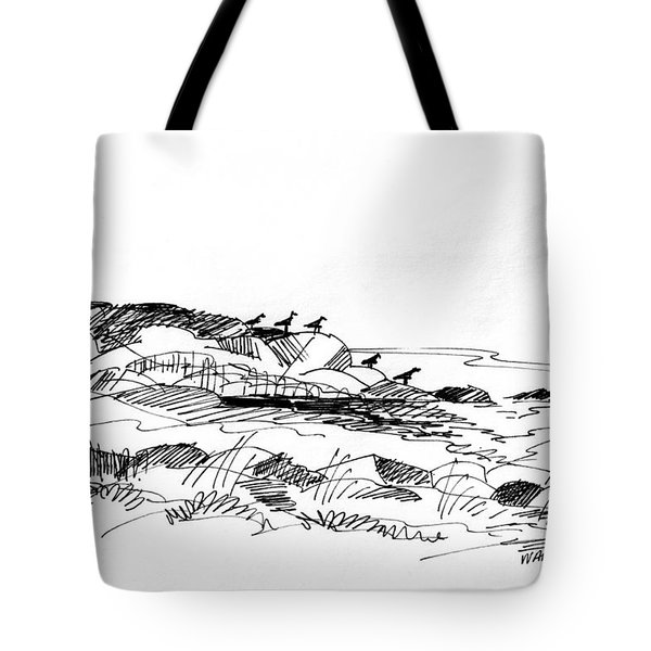 Tote Bag featuring the drawing Rocky Beach Monhegan 1998 by Richard Wambach