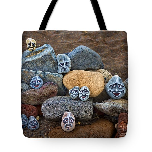 Rocky Faces In The Sand Tote Bag by David Smith