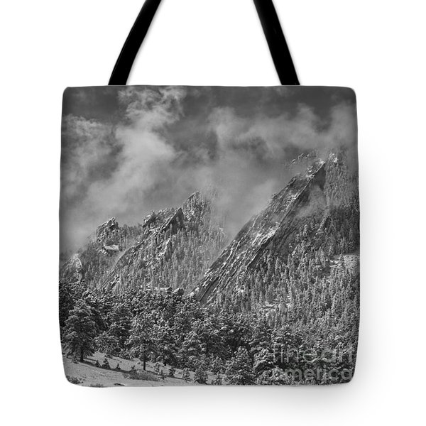 Rocky Mountain Dusting Of Snow Boulder Colorado Bw Tote Bag by James BO  Insogna