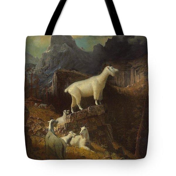 Rocky Mountain Goats Tote Bag by Albert Bierstadt