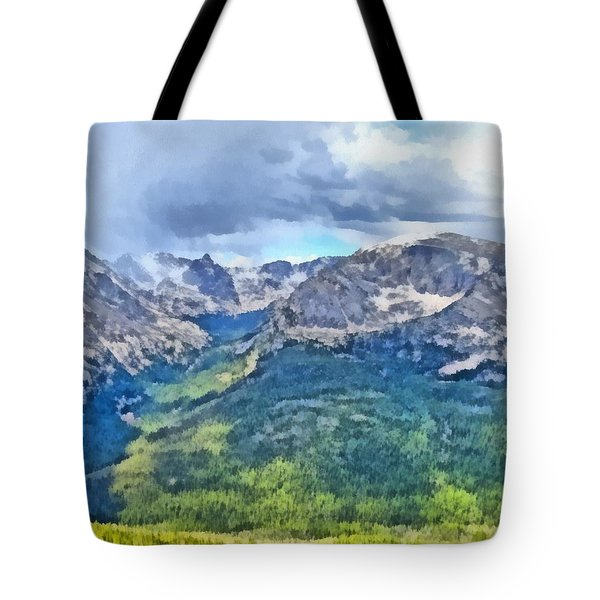 Rocky Mountain National Park Painting Tote Bag by Dan Sproul