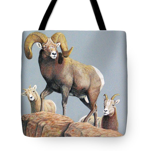 Rocky Mountain Ram Ewe And Lamb Tote Bag