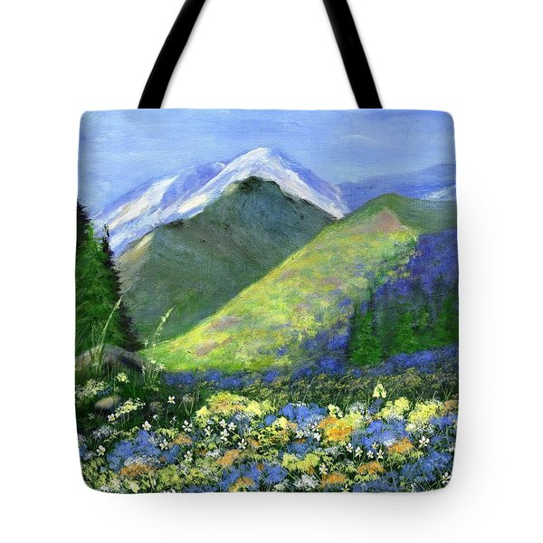 Rocky Mountain Spring Tote Bag by Jamie Frier