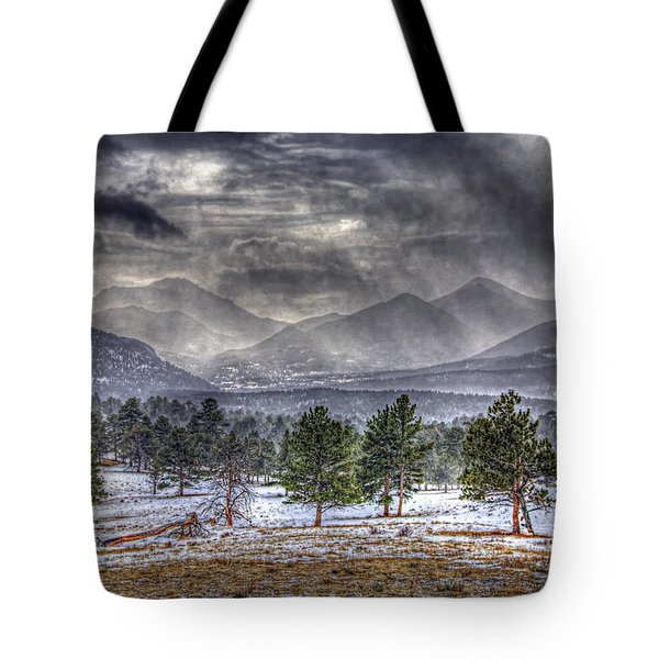 Rocky Mountain Snow Storm Estes Park Colorado Tote Bag