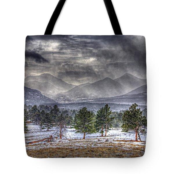Rocky Mountain Snow Storm Estes Park Colorado Tote Bag