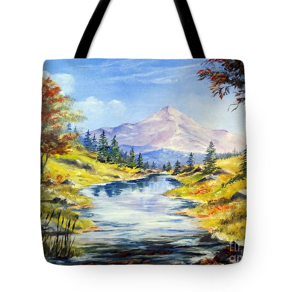 Rocky Mountain Stream Tote Bag by Lee Piper