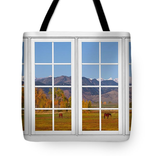 Rocky Mountains Horses White Window Frame View Tote Bag by James BO  Insogna