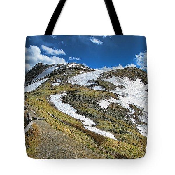 Rocky Mountains Path Tote Bag