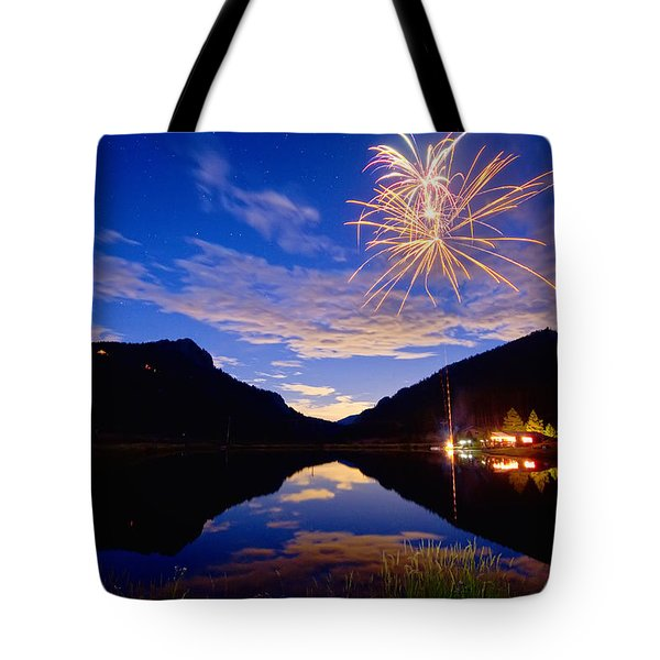 Rocky Mountains Private Fireworks Show Tote Bag by James BO  Insogna