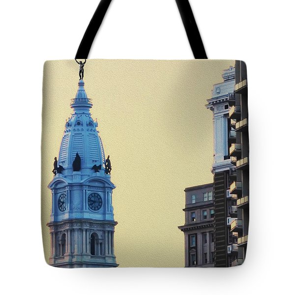 Rocky On Top Of City Hall Tote Bag by Bill Cannon