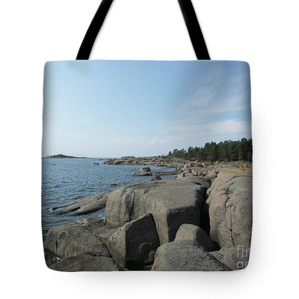Rocky Seashore 2 In Hamina  Tote Bag