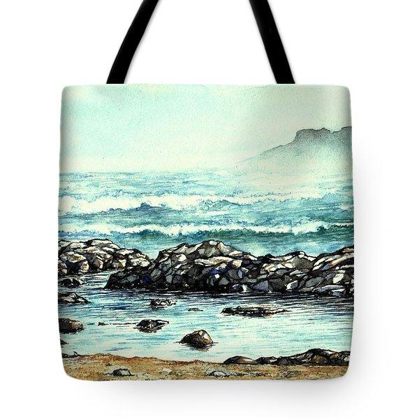 Tote Bag featuring the painting Rocky Seashore by Heidi Kriel