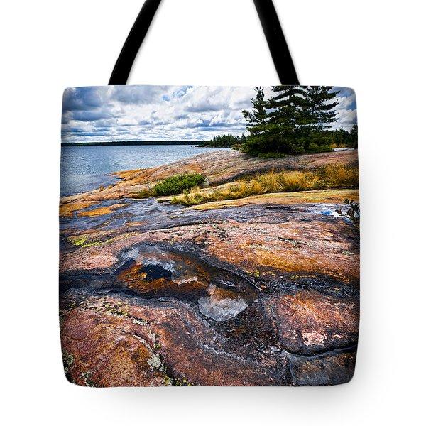 Rocky Shore Of Georgian Bay Tote Bag by Elena Elisseeva