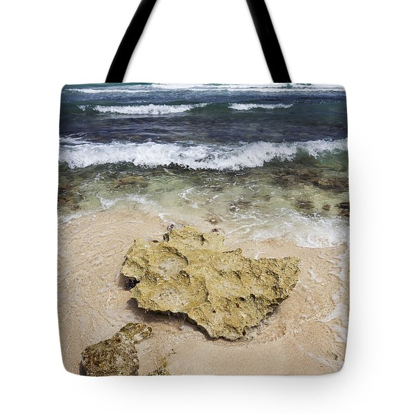 Rocky Shoreline In Tulum Tote Bag