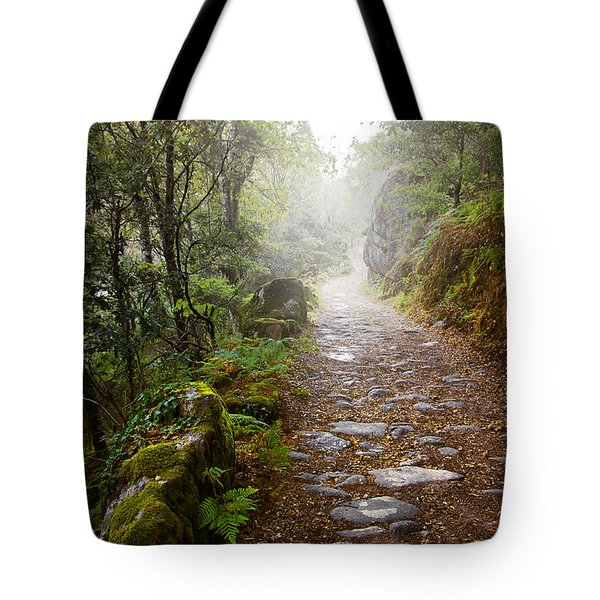 Rocky Trail In The Foggy Forest Tote Bag