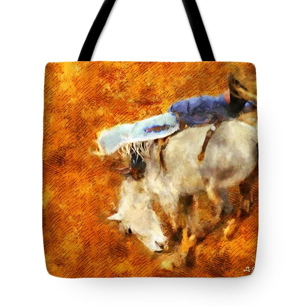 Tote Bag featuring the painting Eight-second Ride by Greg Collins
