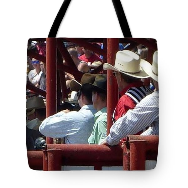 Tote Bag featuring the photograph Rodeo Time Cowboys by Susan Garren