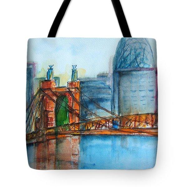 Roebling Bridge Near Dusk Tote Bag by Elaine Duras