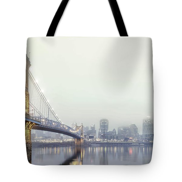 Roebling In The Fog Tote Bag by Keith Allen