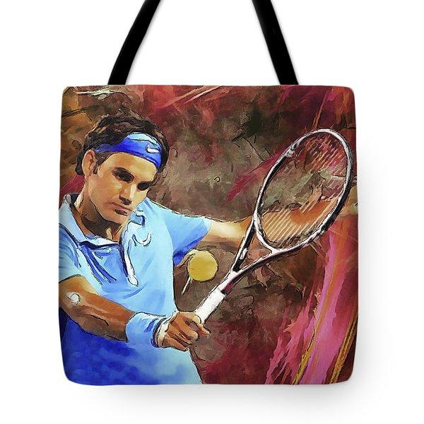Roger Federer Backhand Art Tote Bag