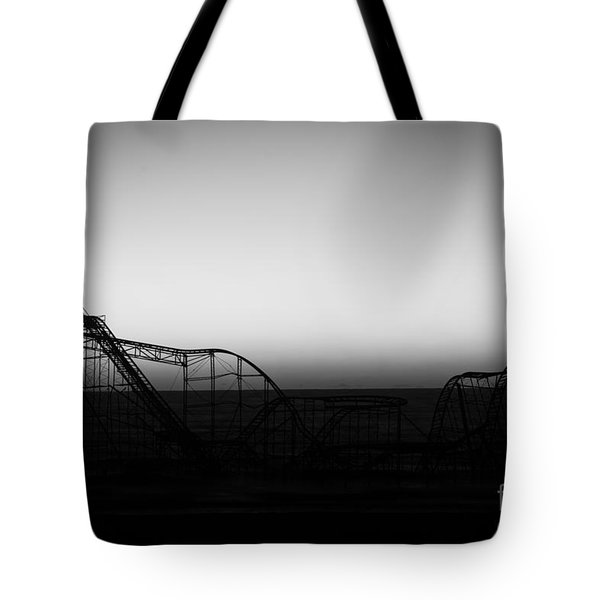 Roller Coaster Silhouette Black And White Tote Bag by Michael Ver Sprill