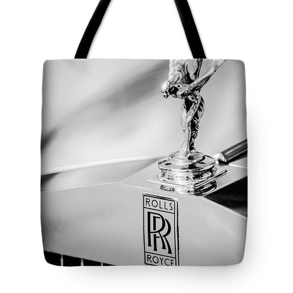 Tote Bag featuring the photograph Rolls-royce Hood Ornament -782bw by Jill Reger