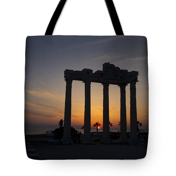 Roman Ruins At Sunset Side Turkey Tote Bag