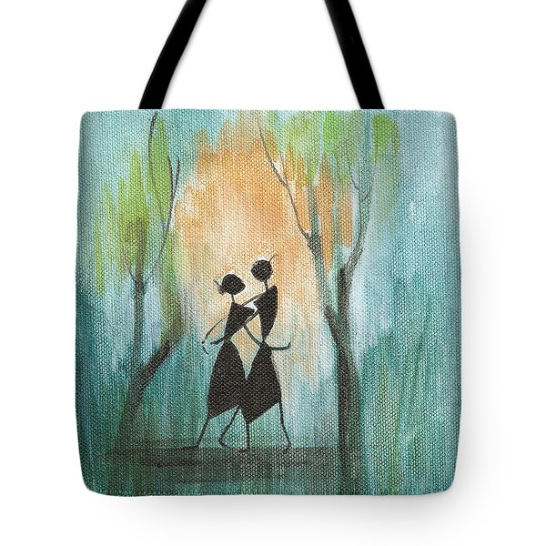 Romance In Blue Tote Bag by Chintaman Rudra
