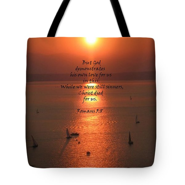 Romans 5 8 Tote Bag