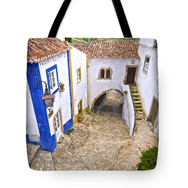 Tote Bag featuring the painting Romantic Obidos by David Letts