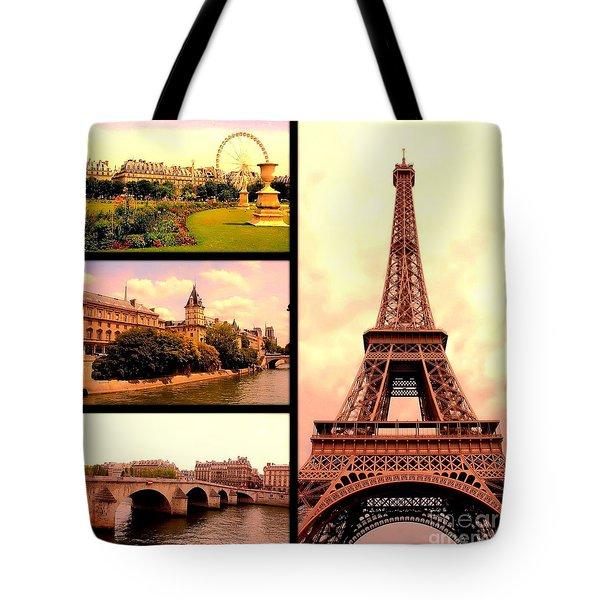 Romantic Paris Sunset Collage Tote Bag by Carol Groenen