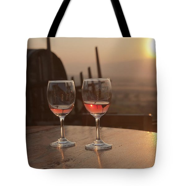 Romantic Sunset With A Glass Of Wine Tote Bag
