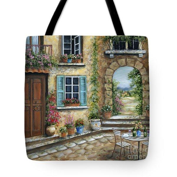 Romantic Tuscan Courtyard Tote Bag by Marilyn Dunlap