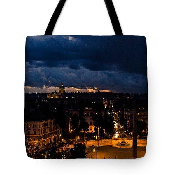 Rome Cityscape At Night  Tote Bag